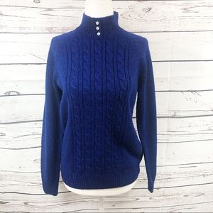 Karen Scott Blue Cable Knit Peal Sweater